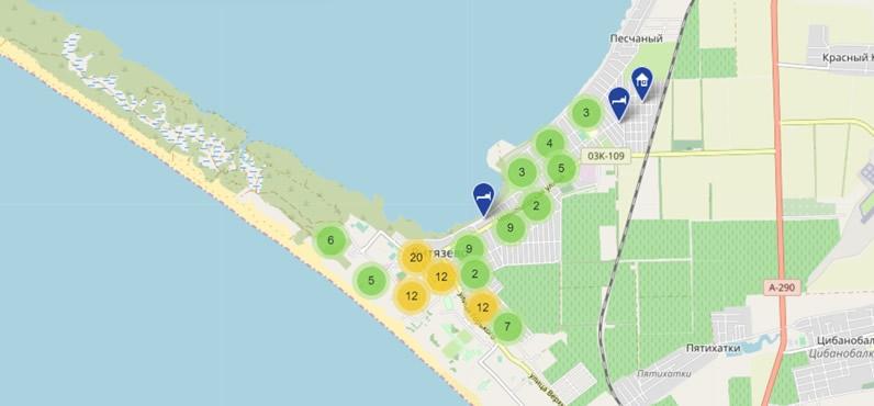Выбор жилья в Витязево на карте: