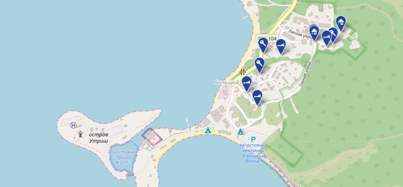 Выбор жилья в Большом Утрише на карте: